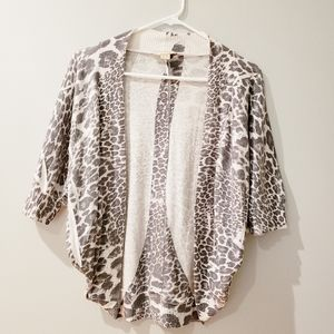 Forever 21 Gray Snow Leopard Cardigan